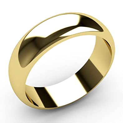 9ct Yellow Gold Wedding rings 6mm Width D Shaped Band Heavy Weight.