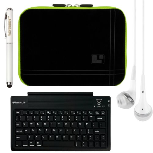 Sumaclife Micro Suede Sleeve Cover For Samsung Galaxy Tab Pro 8.4 / Galaxy Note 8.0 Tablet + Sumaclife Wireless Bluetooth Keyboard + Vg Executive Stylus Pen & Laser Pointer + White Vangoddy Headphones (Green Trim)