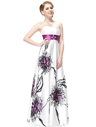 He08090Pp18, Purple, 16Us, Ever Pretty Strapless Rhinestones Ruched Waist Printed Evening Dress 08090
