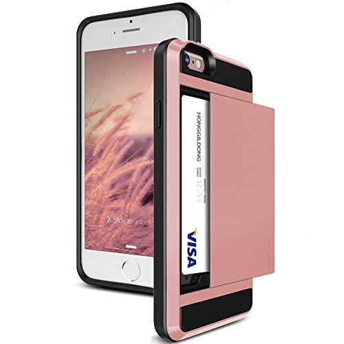 iPhone 6S Plus Case, JOBSS [Card Pocket] iPhone 6 Plus / 6S Plus (5.5 INCH) Bumper Case Shock Absorbing Hybrid Wallet ID Card Holder Carrying Protective Stand Cover Shell[Pink] (Iphone 6 Cas Pink compare prices)