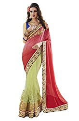 Suchi Fashion Embroidered Pure Georgette & Net Green and Tamato Red Saree