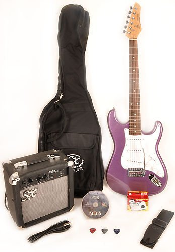 Sx Rst 3/4 Mpp Short Scale Purple Guitar Package With Amp, Carry Bag And Instructional Dvd