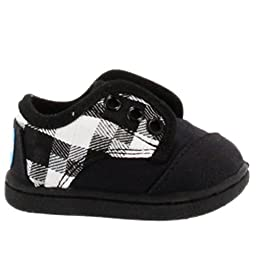 Toms Tiny Toddler Paseos in Black Grey Canvas 3
