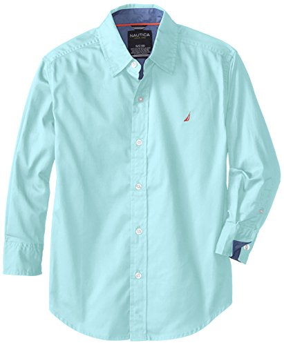 Nautica Big Boys' Rollup Solid Twill Shirt, Hydro, Small