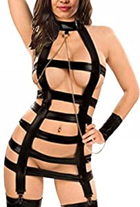 Uget Women's Erotic Gothic Punk Vinyl Leather-likie Teddy Lingerie and Leash Set