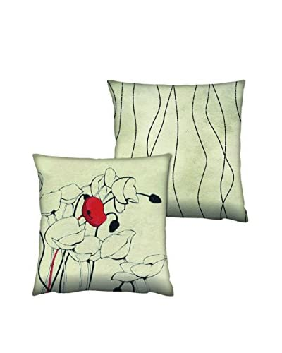 Gravel Set of 2 Floral Stencil Print Throw Pillows, Ink Blue/Off-White