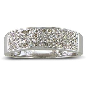 SuperJeweler 1/3ct Micropave Ladies Diamond Wedding Band in White Gold - H 1/2
