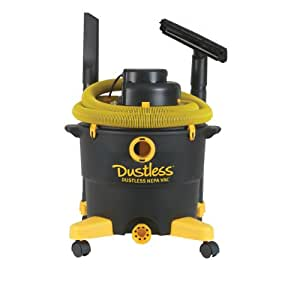 Dustless Technologies 16006 16-Gallon Dustless Wet/Dry Vacuum with Hepa Filter, 12-Foot  by 1-1/2-Inch Hose
