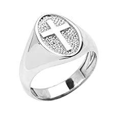 buy Sterling Silver Christian Religious Cross Unisex Ring(Size 12)