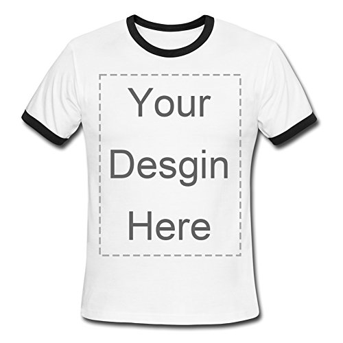 Custom White Men's Ringer T-Shirt Design Personalized Photo or Text Print Tee