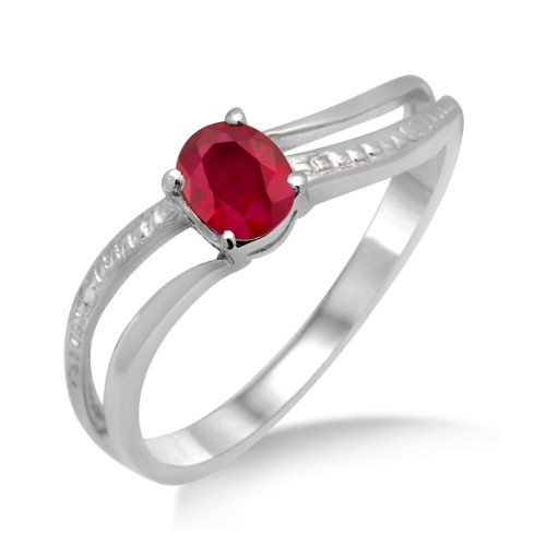 Ruby Ring, 9ct White Gold, Diamond Setting, Size N, by Miore, MA936RO