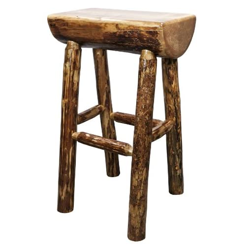 Montana Woodworks MWGCBNHL Glacier Country Collection Half Log Barstool