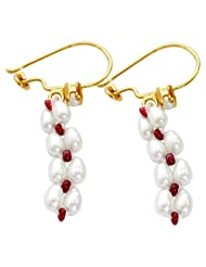 Surat Diamonds Real Rice Pearl & Red Ruby Beads Hanging Earrings For Women (SE70)