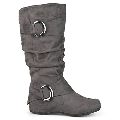 Brinley Co Women's Augusta-02wc Slouch Boot, Grey Wide Calf, 9 M US
