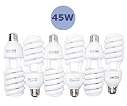 StudioPRO 6x 45W Bulb Full Spectrum CFL Photo Video Light, 5500K Daylight, 6 Pack