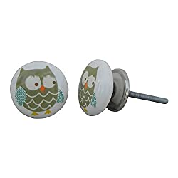 Set of 4 Owl Ceramic Multicolor Knobs Handmade Door Almirah Drawer Handle Cabinet Dresser Wardrobe Pull IndianShelf Online New Handcrafted Silver Finish
