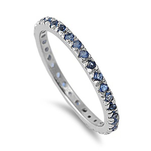 1.00 CT Sterling Silver Rhodium Plated Round Blue Sapphire CZ Cubic Zirconia Ladies Eternity Stackable Ring Wedding Anniversary Band (Available in size 6, 7, 8, 9, 10) size 7