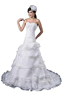 White Lace-up Organza A-line Crystals Sleeveless Tier Wedding Dress(10,Ivory)