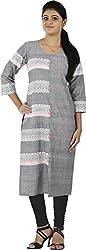 MGM KHADI Women's Regular Fit Kurta (MGMK052, Grey, 40)
