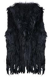 Zeagoo Women's New Fashion Winter Warm Rabbit Fur Knitted Coat Vest Gilet