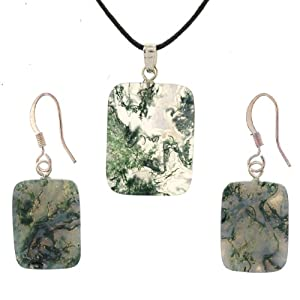 Moss Agate Rectangle Pendant and Earring Set - Pendant 17mm x 22mm, Earrings 13mm x 18mm - Adjustable Cord Necklace