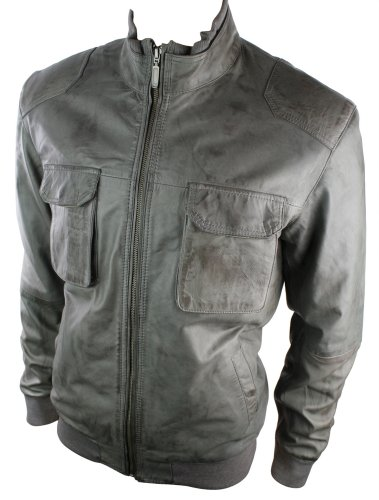 Mens All Leather Urban Retro Bomber Jacket Top Pocket Grey Washed