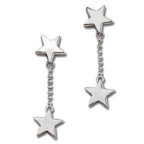 .925 Sterling Silver Star Charms Designer Dangle Drop Earrings