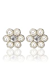 Faux Pearl & Diamanté Floral Stud Earrings