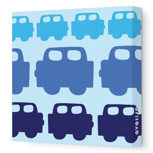 "Avalisa Stretched Canvas Nursery Wall Art, Cars, Blue, 18"" X 18"""