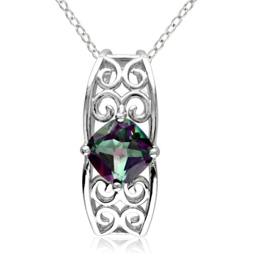 Sterling Silver, Mystic Green Topaz Pendant Necklace, 18