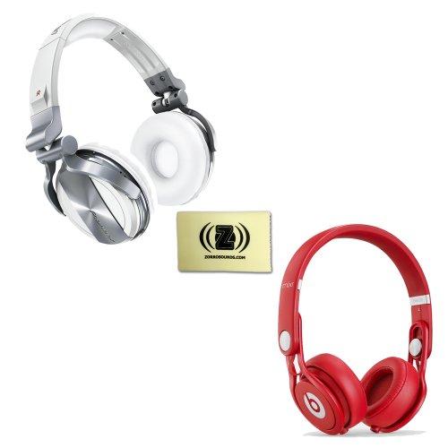 Pioneer Hdj-1500 Professional Dj Headphones (White) Bundle With Beats By Dr. Dre Mixr - Lightweight Dj Headphones (Red) And Custom Designed Zorro Sounds Cloth