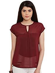 Maroon Solid Poly Georgette Top