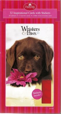 Whiskers & Paws Dog & Cat Valentines for Kids with Scripture and Stickers - Package of 32