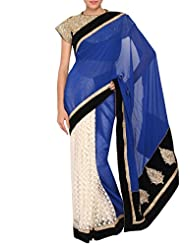 Kalki Fashion Blue And Off-white Net Saree With Threadwork And Kundan Embroidery Only On Kalki