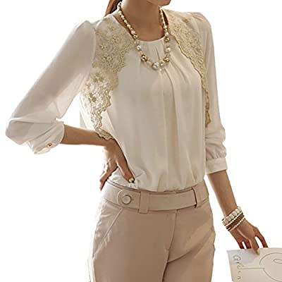 Ladies Long Sleeve Embroidered Chiffon Blouse Shirt