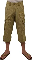"""Stone Touch Men's Military-Style Solid Cargo 19"""" Capri shorts"""