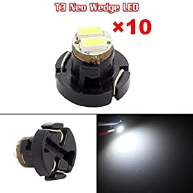 Partsam 10x White T3 Neo Wedge SMD LED Light Instrument Cluster Panel Lamps Gauge Bulbs