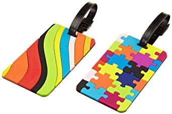 Travelon Luggage Puzzles and Swirls Set Of 2 Luggage Tags, Assorted, One Size