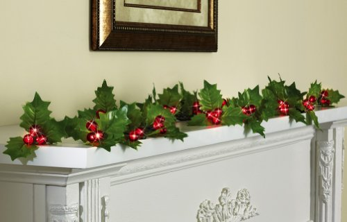 Holly Berry String Lights Garland With Timer