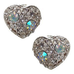 Fabiana Silver Aurora Borealis Crystal Heart Clip On Earrings
