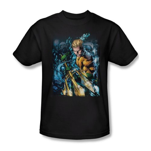 Justice League, da uomo, motivo: Aquaman#1-Maglietta, colore: nero