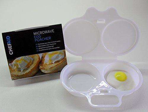 Chef Aid Passe au micro-ondes Pocheuse à œufs, blanc