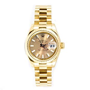 Rolex Ladys President New Style Heavy Band 18k Yellow Gold model 179178 Fluted Bezel Champagne Stick Dial