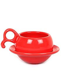 VarEesha Red Ceramic Cups with Saucers