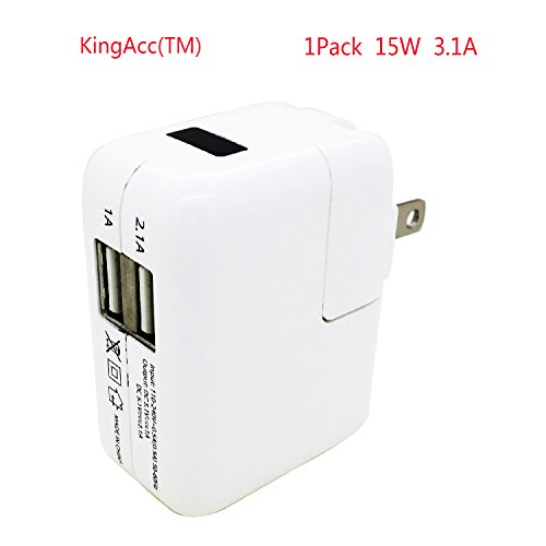 Kingacc® 3.1A 15W Dual Usb Travel Mobile Wall Charger Ac Power Adapter For Apple And Android Phones And Tablets: Apple Ipad Air, Ipad 2, New Ipad 3, Ipad Mini Iphone 5S 5C 5 4S 4 3 3Gs, Samsung Galaxy S4 S5 Note2 Note3 9500 9600 N7100 N9000 Tab, Htc Samsu