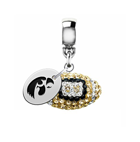 Iowa Hawkeyes Crystal Football Drop Charm Fits All European Style Charm Bracelets