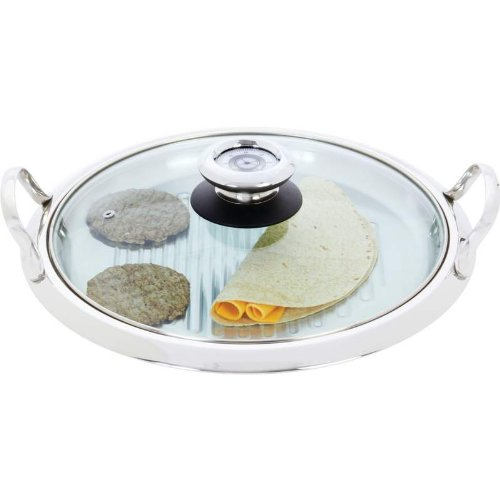 12-Element High-Quality Stainless Steel Round Griddle With See-Thru Glass Cover - Ktgrid2P
