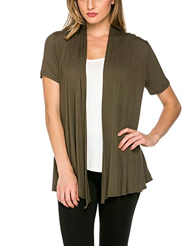 12-ami-basic-solid-short-sleeve-open-front-cardigan-olive-3x