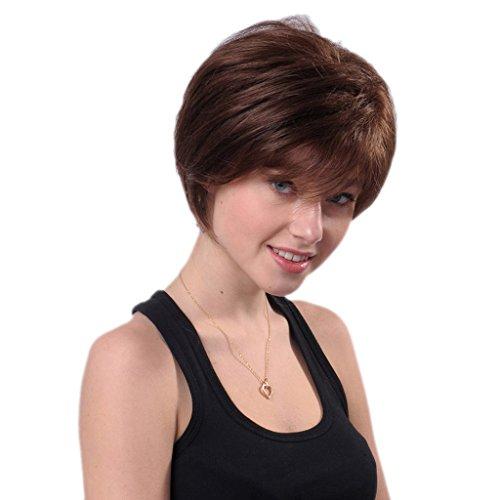 Bigood Stylish Light Brown Fluffy Curly Wavy Women Hair Wig Short Lady Full Wigs 22cm