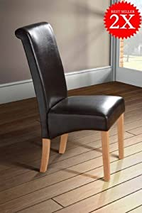 Milano Scroll Back Faux Leather Dining Room Chair   BROWN X2       Customer review